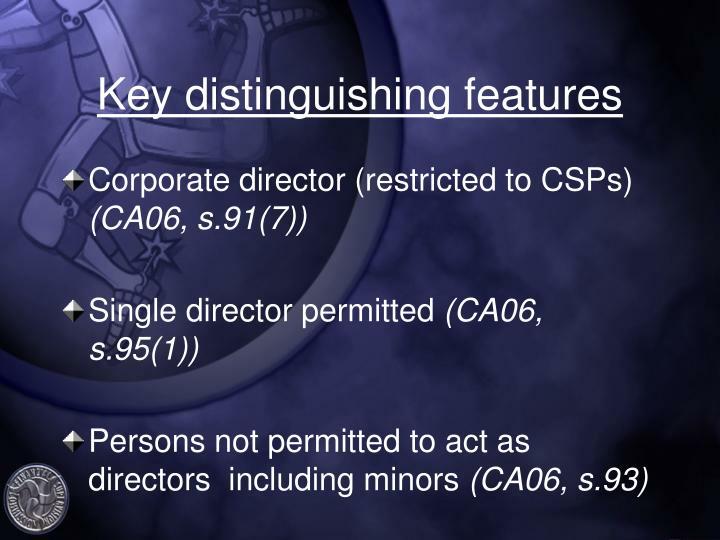 Key distinguishing features