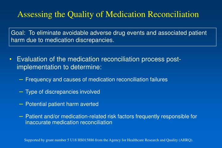 Assessing the Quality of Medication Reconciliation