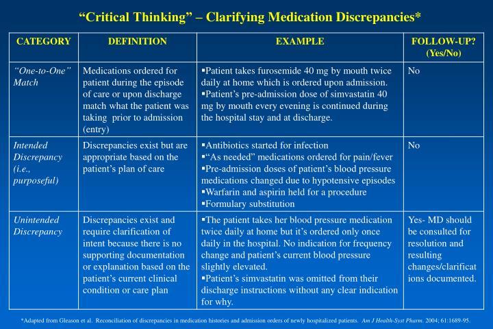 """""""Critical Thinking"""" – Clarifying Medication Discrepancies*"""