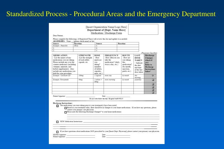 Standardized Process - Procedural Areas and the Emergency Department