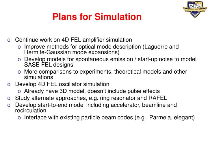 Plans for Simulation