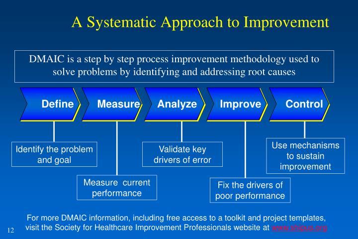 Use mechanisms to sustain improvement