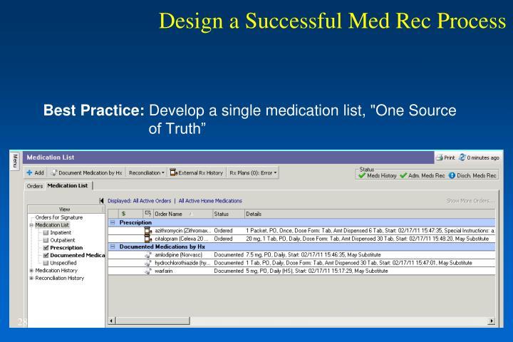 Design a Successful Med Rec Process