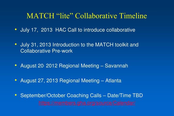 "MATCH ""lite"" Collaborative Timeline"