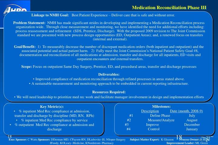 Medication Reconciliation Phase III