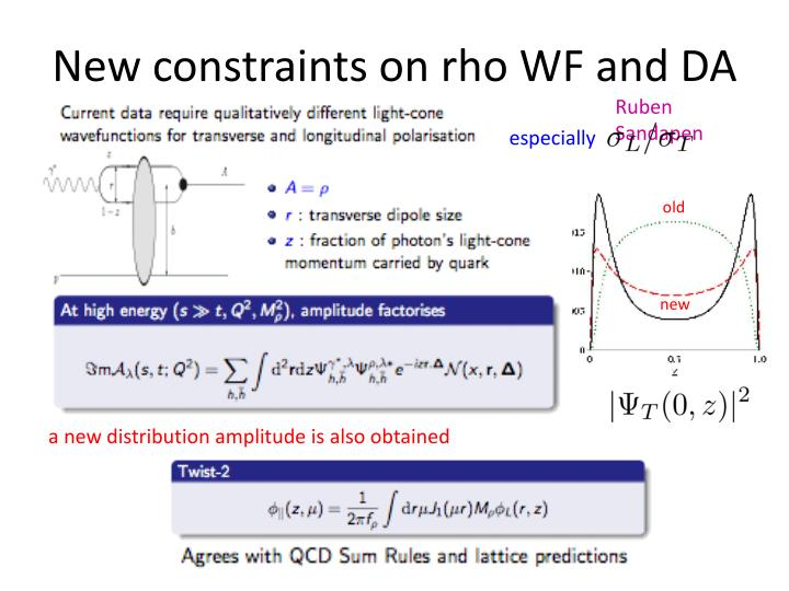 New constraints on rho WF and DA