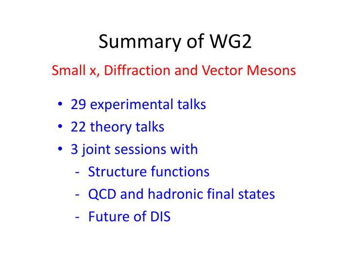 Summary of wg2