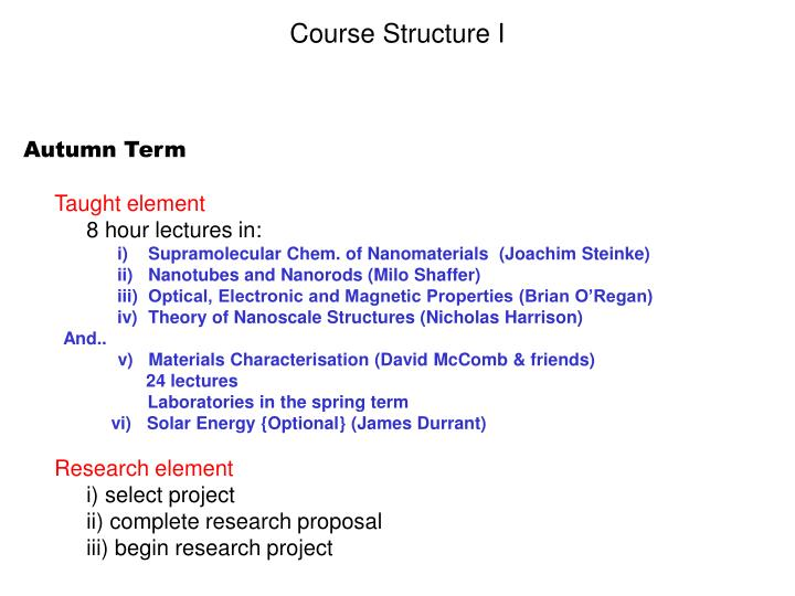 Course Structure I