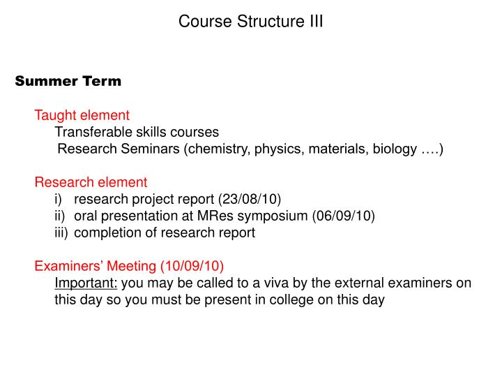 Course Structure III