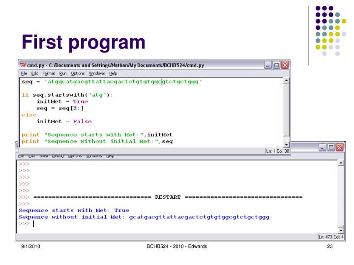 First program