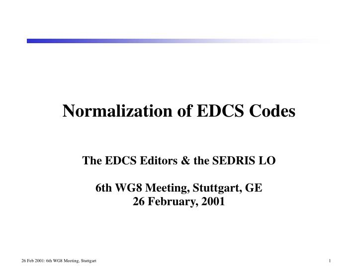normalization of edcs codes n.