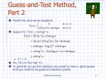guess and test method part 2
