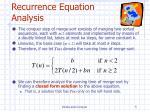 recurrence equation analysis