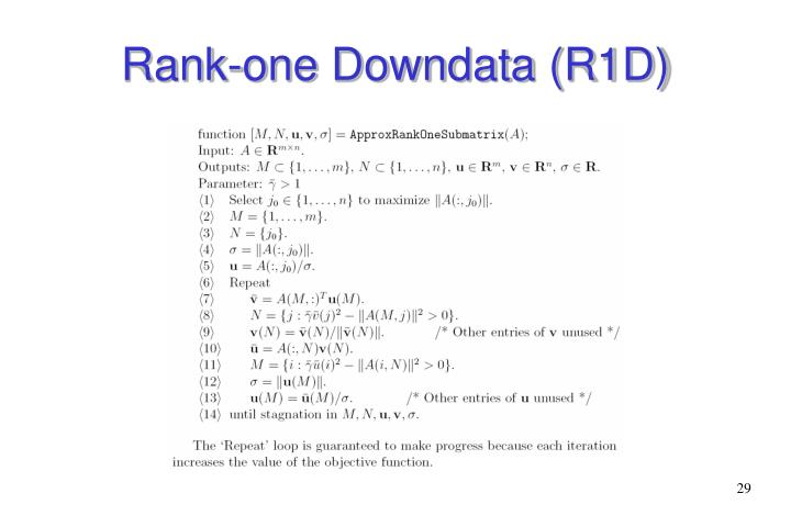 Rank-one Downdata (R1D)
