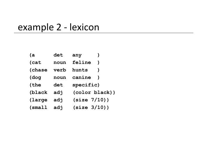 example 2 - lexicon