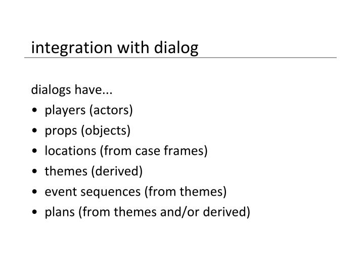 integration with dialog