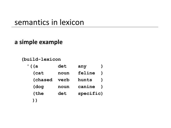 semantics in lexicon