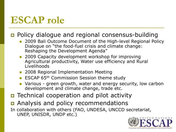 ESCAP role