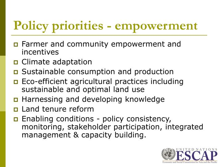 Policy priorities - empowerment