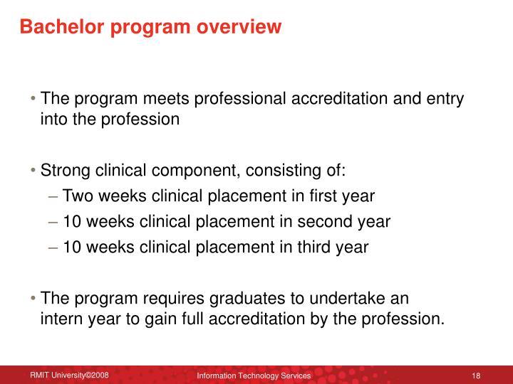 Bachelor program overview