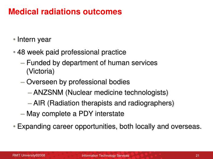 Medical radiations outcomes