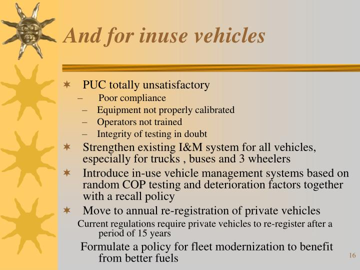 And for inuse vehicles