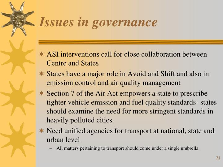 Issues in governance