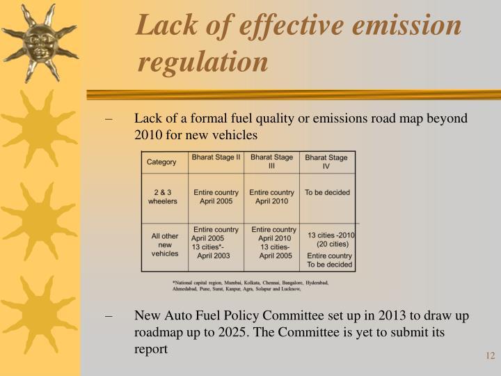 Lack of effective emission regulation