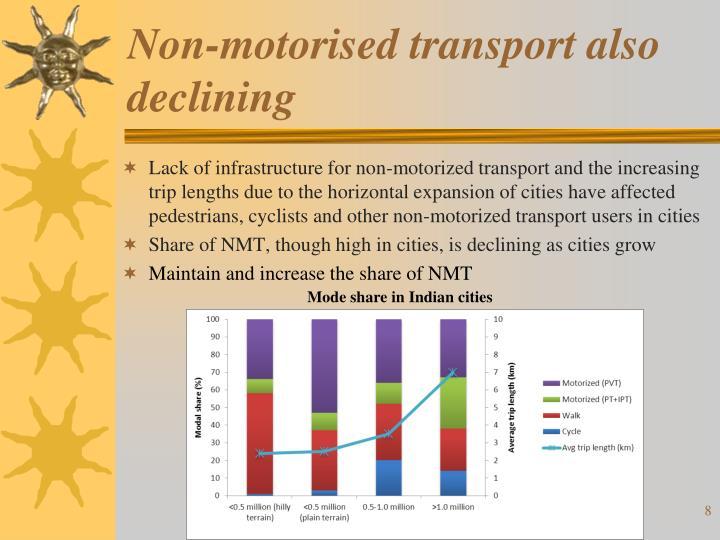 Non-motorised transport also declining