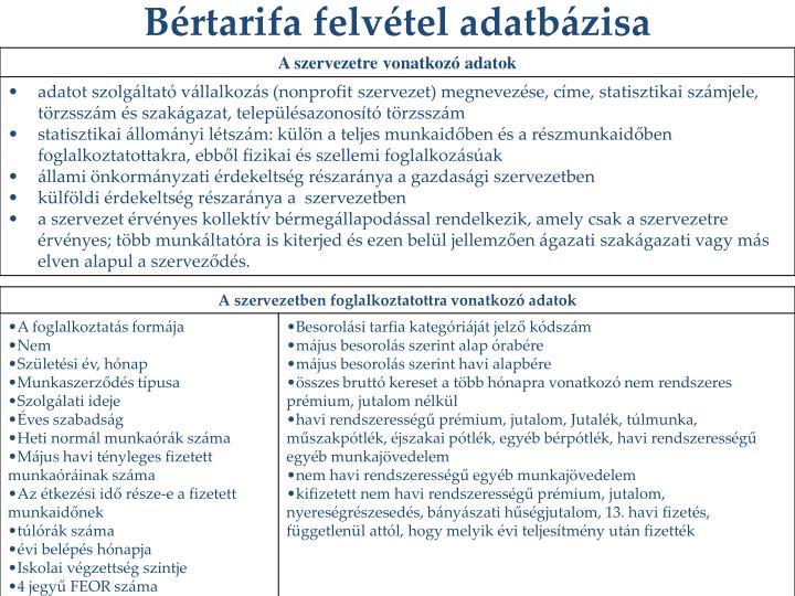 Bértarifa felvétel adatbázisa