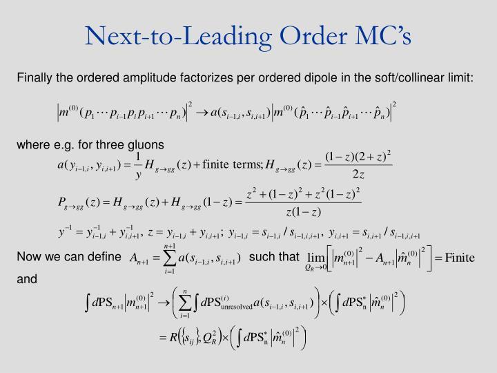 Next-to-Leading Order MC's