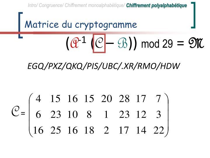 Matrice du cryptogramme
