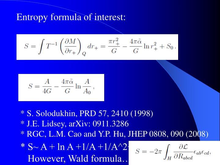 Entropy formula of interest: