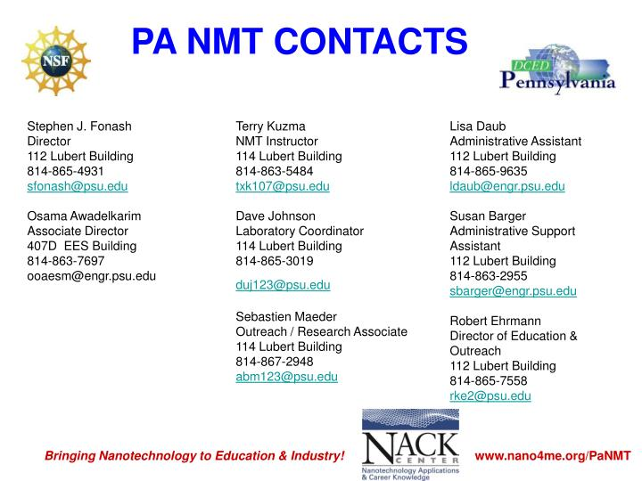 PA NMT CONTACTS