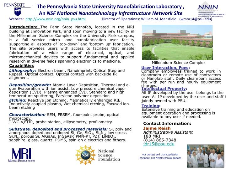 The Pennsylvania State University Nanofabrication Laboratory ,