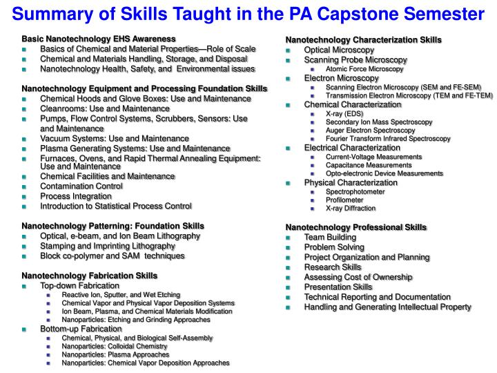 Summary of Skills Taught in the PA Capstone Semester