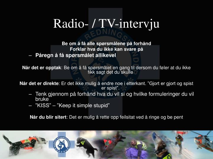 Radio- / TV-intervju