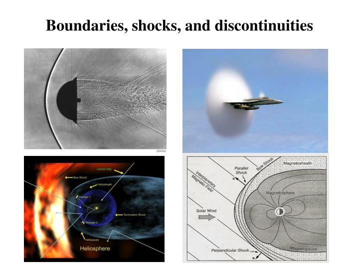 Boundaries shocks and discontinuities