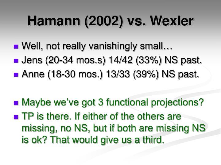 Hamann (2002) vs. Wexler