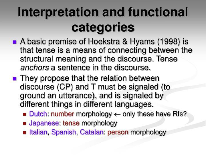 Interpretation and functional categories