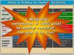 status of evidence for neutrino oscillations