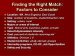 finding the right match factors to consider