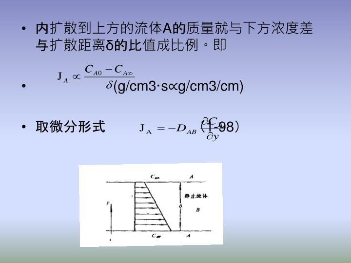 内扩散到上方的流体A的质量就与下方浓度差与扩散距离δ的比值成比例。即