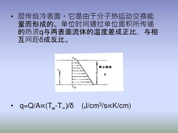 层传给冷表面。它是由于分子热运动交换能量而形成的。单位时间通过单位面积所传递的热流q与两表面流体的温度差成正比,与相互间距δ成反比