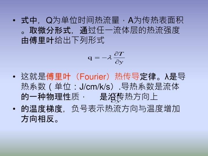 式中,Q为单位时间热流量,A为传热表面积。取微分形式,通过任一流体层的热流强度由傅里叶给出下列形式