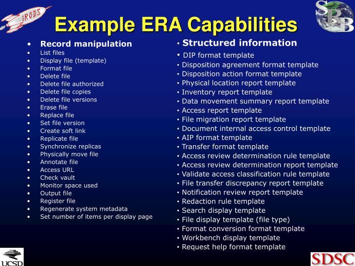 Example ERA Capabilities