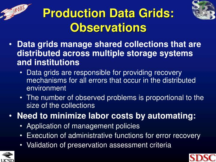 Production Data Grids: Observations