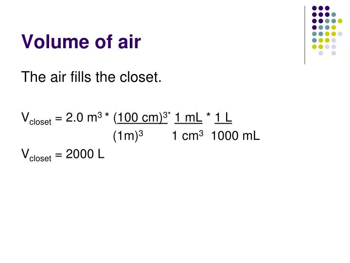 Volume of air
