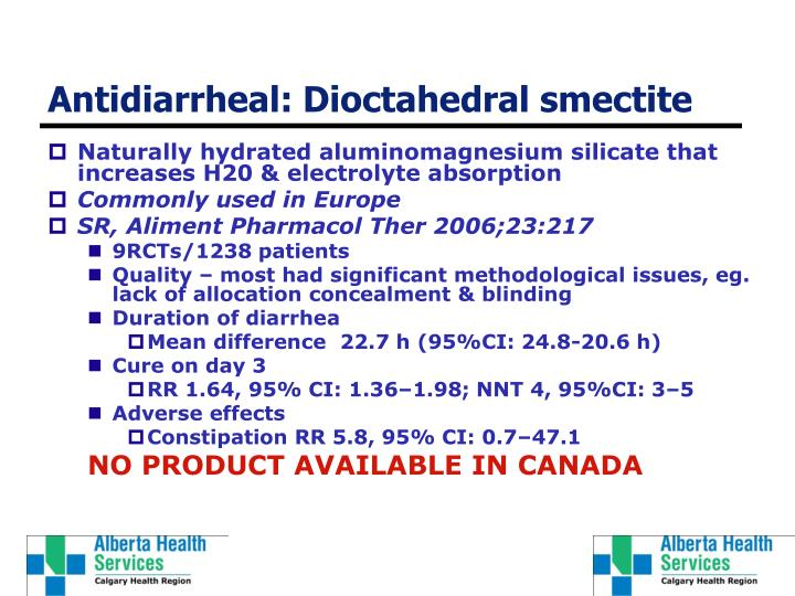 Antidiarrheal: Dioctahedral smectite