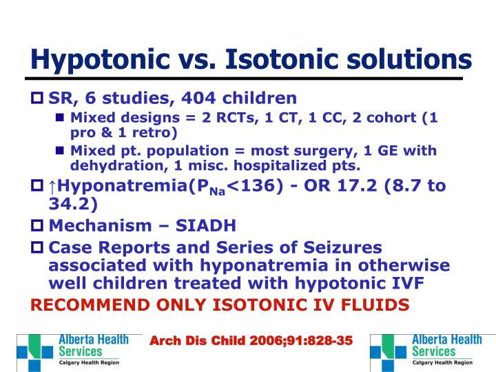 Hypotonic vs. Isotonic solutions